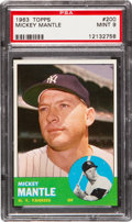 Baseball Cards:Singles (1960-1969), 1963 Topps Mickey Mantle #200 PSA Mint 9....