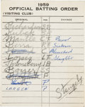 Autographs:Others, 1959 New York Yankees Dugout Line-Up Card Signed by Casey Stengel....