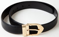 Luxury Accessories:Accessories, Heritage Vintage: Louis Vuitton Black Epi Belt with Gold Buckle....