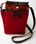 Luxury Accessories:Bags, Heritage Vintage: Hermes Red and Orange Canvas and Leather Mini HerBag. .. ...