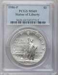 Modern Issues: , 1986-P $1 Statue of Liberty Silver Dollar MS69 PCGS. PCGSPopulation (3754/149). NGC Census: (3157/179). Mintage: 723,635....