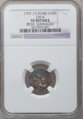 Early Half Dimes, 1797 H10C 13 Stars -- Bent, Damaged -- NGC Details. VF. V-1, LM-4,R.5....