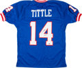 """Football Collectibles:Uniforms, Y.A. Tittle """"H.O.F. 71"""" Signed New York Giants Jersey...."""