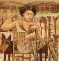 "Latin American:Contemporary, JUAN RAMÓN VALDÉZ GÓMEZ ""YIKI"" (Cuban, b. 1968). Seated Ladywith Grids, 2006. Oil on canvas. 25-1/2 x 24-1/2 inches (64..."