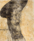 Latin American:Contemporary, JOEL JOVER (Cuban, b. 1953). Desnudo con Sombrilla III (Nudewith Parasol III), 2008. Mixed media on canvas. 46-3/4 x 39...