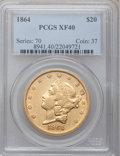 Liberty Double Eagles, 1864 $20 XF40 PCGS....