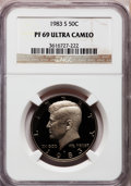 Proof Kennedy Half Dollars: , 1983-S 50C PR69 Ultra Cameo NGC. NGC Census: (903/87). PCGSPopulation (4162/205). Numismedia Wsl. Price for problem free ...