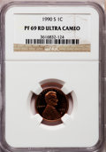 Proof Lincoln Cents, 1990-S 1C PR69 Red Ultra Cameo NGC. NGC Census: (673/75). PCGSPopulation (3275/109). Numismedia Wsl. Price for problem fr...