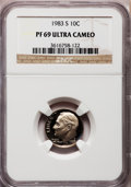 Proof Roosevelt Dimes: , 1983-S 10C PR69 Ultra Cameo NGC. NGC Census: (539/162). PCGSPopulation (2973/168). Numismedia Wsl. Price for problem free...