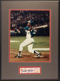 Baseball Collectibles:Tickets, 1974 Hank Aaron Signed Home Run 715 Full Proof Ticket Display....
