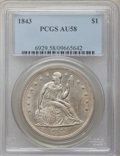 Seated Dollars, 1843 $1 AU58 PCGS....
