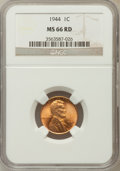 Lincoln Cents: , 1944 1C MS66 Red NGC. NGC Census: (3270/864). PCGS Population(2169/208). Mintage: 1,435,399,936. Numismedia Wsl. Price for...