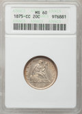 Twenty Cent Pieces, 1875-CC 20C MS60 ANACS....