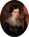 American:Portrait & Genre, AMERICAN SCHOOL (Mid-19th Century). Portrait of Elizabeth Harwood Heath Bailhache (1797-1849). Oil on canvas. 27 x 22 in...