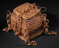 African, AN EAST AFRICAN WOVEN BASKET WITH LID . Early 20th century. 4-1/2inches high (11.4 cm). ...
