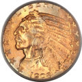 Indian Half Eagles, 1908-S $5 MS68 PCGS....