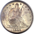Seated Half Dollars, 1842-O 50C Medium Date, Large Letters MS64+ PCGS. CAC....