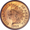 Indian Cents, 1866 1C MS66 Red PCGS. CAC....