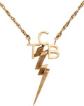 "Music Memorabilia:Memorabilia, Elvis Presley ""TCB"" 14K Gold Necklace by His Personal Jeweler MikeMcGregor. ... (Total: 2 Items)"