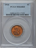 Lincoln Cents: , 1916 1C MS64 Red PCGS. PCGS Population (322/624). NGC Census:(138/320). Mintage: 131,833,680. Numismedia Wsl. Price for pr...