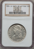 Bust Half Dollars: , 1834 50C Large Date, Small Letters VF35 NGC. 0-107. NGC Census:(0/0). PCGS Population (23/433). (#6165)...