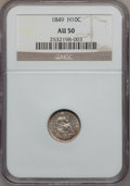 Seated Half Dimes: , 1849 H10C AU50 NGC. NGC Census: (5/103). PCGS Population (3/70).Mintage: 1,309,000. Numismedia Wsl. Price for problem free...