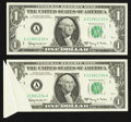 Error Notes:Foldovers, Fr. 1901-A $1 1963A Federal Reserve Notes. Two Examples. VeryChoice Crisp Uncirculated.. ... (Total: 2 notes)