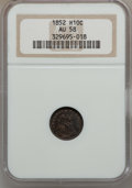 Seated Half Dimes: , 1852 H10C AU58 NGC. NGC Census: (10/140). PCGS Population (8/124).Mintage: 1,000,500. Numismedia Wsl. Price for problem fr...