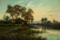 Fine Art - Painting, European:Other , OCTAVIUS T. CLARK (British, 1850-1921). Evening Landscape,1894. Oil on canvas. 24 x 36 inches (61.0 x 91.4 cm). Signed ...