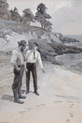 Fine Art - Painting, American:Modern  (1900 1949)  , CHARLES GEORGE COPELAND (American, 1858-1945). A Conversation onthe Beach, men's adventure magazine illustration. Water...