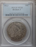 Bust Half Dollars: , 1823 50C Broken 3 VF25 PCGS. PCGS Population (3/58). NGC Census:(3/30). Numismedia Wsl. Price for problem free NGC/PCGS c...