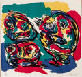 Fine Art - Work on Paper:Print, KAREL APPEL (Dutch, 1921-2006). Three Figures. Lithograph. Sight: 18 x 19 inches (45.7 x 48.3 cm). Ed. 67/90. Signed in ...