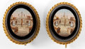 Estate Jewelry:Earrings, A PAIR OF ITALIAN MICROMOSAIC EARRINGS: ST. PETER'S . Circa1870. 7/8 inches high (2.3 cm). ... (Total: 2 Items)