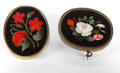 Estate Jewelry:Brooches - Pins, TWO ITALIAN PIETRE DURE BROOCHES . Circa 1875. 1-5/8 inches high (4.1 cm) (larger). ... (Total: 2 Items)