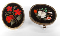 TWO ITALIAN PIETRE DURE BROOCHES Circa 1875 1-5/8 inches high (4.1 cm) (larger)