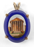 Estate Jewelry:Objects d'Art, AN ITALIAN MICROMOSAIC PENDANT: TEMPLE OF VESTA . Circa1870. 1-1/8 inches high (2.9 cm). ...