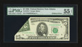 Error Notes:Foldovers, Fr. 1978-F $5 1985 Federal Reserve Note. PMG About Uncirculated 55EPQ.. ...