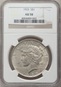 Peace Dollars, (2)1923 $1 AU58 NGC. ... (Total: 2 coins)
