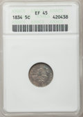 Bust Half Dimes: , 1834 H10C XF45 ANACS. NGC Census: (12/505). PCGS Population(25/455). Mintage: 1,480,000. Numismedia Wsl. Price for problem...