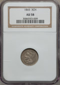 Three Cent Nickels: , 1865 3CN AU58 NGC. NGC Census: (136/1389). PCGS Population(259/1435). Mintage: 11,382,000. Numismedia Wsl. Price for probl...