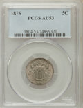 Shield Nickels: , 1875 5C AU53 PCGS. PCGS Population (6/169). NGC Census: (0/132).Mintage: 2,097,000. Numismedia Wsl. Price for problem free...