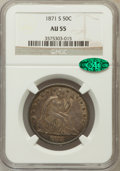 Seated Half Dollars: , 1871-S 50C AU55 NGC. CAC. NGC Census: (17/34). PCGS Population(15/40). Mintage: 2,178,000. Numismedia Wsl. Price for probl...