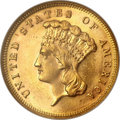 Three Dollar Gold Pieces, 1883 $3 MS64 NGC....
