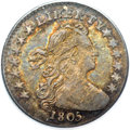 Early Half Dimes, 1805 H10C AU53 PCGS. CAC....