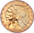 Indian Quarter Eagles, 1914-D $2 1/2 MS65 PCGS Secure....