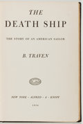 Books:Fiction, B. Traven. The Death Ship. Knopf, 1934. First edition, firstprinting. Owner's name. Foxing and offsetting. Very...