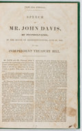 Books:Americana & American History, John Davis. Speech on the Independent Treasury Bill. Houseof Representatives, 1840. New era edition. [8] pages....