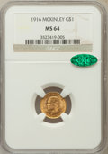 Commemorative Gold: , 1916 G$1 McKinley MS64 NGC. CAC. NGC Census: (755/874). PCGSPopulation (1362/1604). Mintage: 9,977. Numismedia Wsl. Price ...