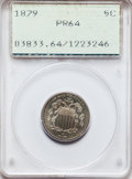 Proof Shield Nickels: , 1879 5C PR64 PCGS. PCGS Population (130/249). NGC Census:(147/284). Mintage: 3,200. Numismedia Wsl. Price for problemfree...