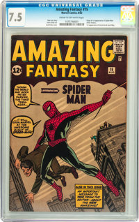 Amazing Fantasy #15 (Marvel, 1962) CGC VF- 7.5 Cream to off-white pages